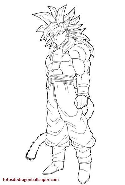 Mire Faciles Dibujos De Goku Super Sayayin 4 Para Colorear