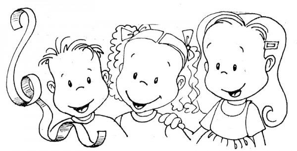 Dibujos Para Colorear De Niños Felices