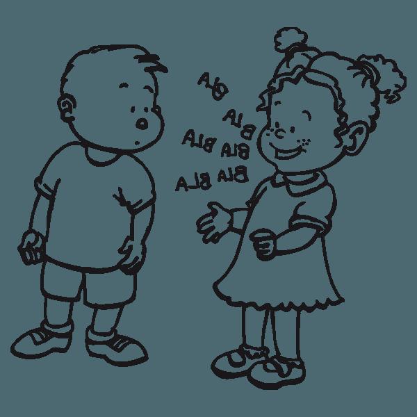 Niños Hablando Dibujo Para Colorear