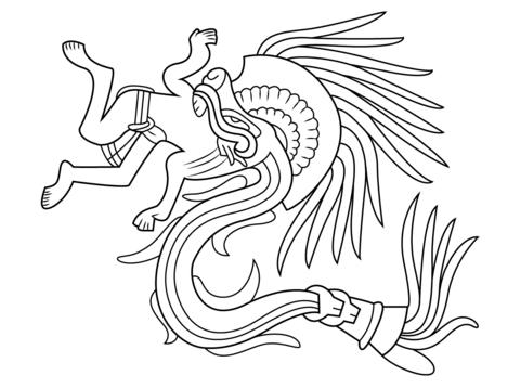 Dibujo De Dios Azteca Quetzalcoatl Para Colorear