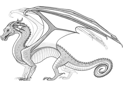 Dibujo De Dragón Alas De Lluvia De Alas De Fuego Para Colorear
