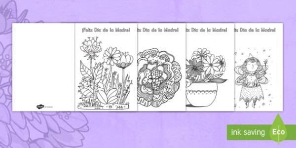 Manualidad  Tarjetas Para Colorear Mindfulness Para El Día De La Madre
