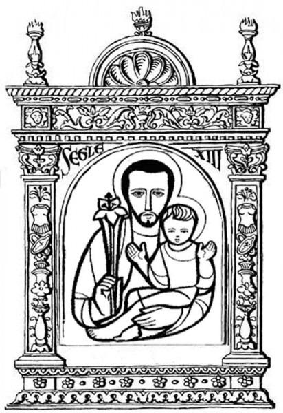 Dibujos Católicos   San José Para Colorear