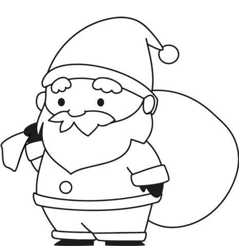 Dibujo De Papá Noel Con Un Saco Para Colorear