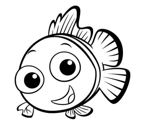 Dibujo De Tierno Pescadito Para Colorear