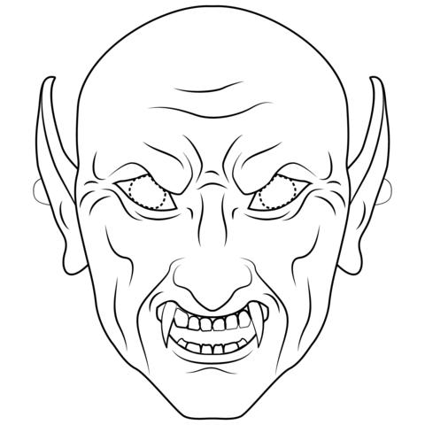 Dibujo De Máscara De Vampiro Para Colorear