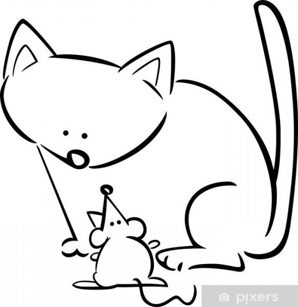 Vinilo Para Puerta Caricatura Dibujo De Gato Y El Ratón Para