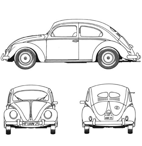 Dibujo De Volkswagen Beetle De 1952 Para Colorear