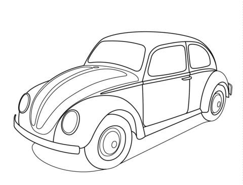 Dibujo De Volkswagen Escarabajo Para Colorear
