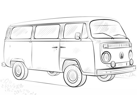 Dibujo De Autobús Vw Para Colorear