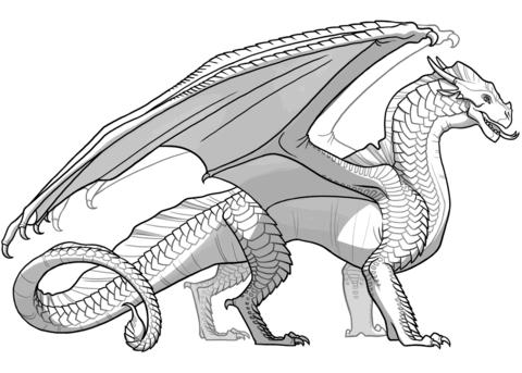 Dibujo De Dragón Alas De Arena De Alas De Fuego Para Colorear