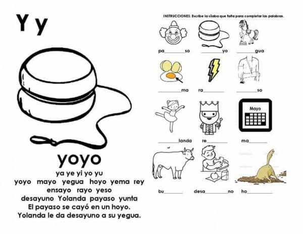 Actividades Con La Silaba Ya Ye Yi Yo Yu